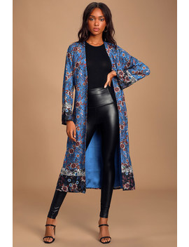 Feeling Tranquil Royal Blue Floral Print Satin Robe by Lulus