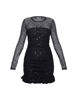 Black Polkadot Mesh Insert Ruched Frill Hem Bodycon Dress by Prettylittlething