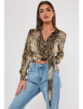 Brown Snake Print Tie Side Satin Blouse by Missguided