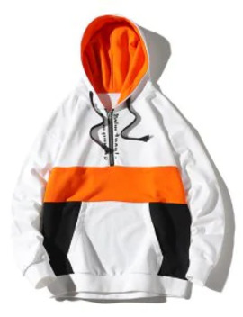 Popular Colorblocking Splicing Letter Half Zipper Hoodie   White 2xl by Zaful