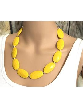 Big Bead Yellow Necklace, Single Strand Statement Jewelry, Bright Yellow Chunky Bib Bridesmaid, Yellow Jewelry, Yellow Necklace Beaded by Etsy