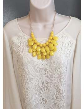 Buttercup Yellow Teardrop Bubble Bib Beaded Chandelier Statement Necklace More Colors by Etsy