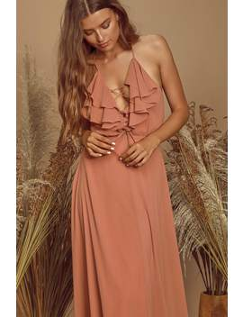 Meridith Dusty Rose Ruffled Lace Up Maxi Dress by Lulus