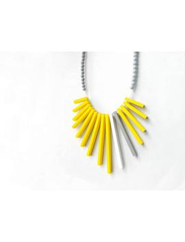 Geometrical Tribal Necklace With Yellow, Grey And White Sticks And Grey Beads , Contemporary Jewelry by Etsy