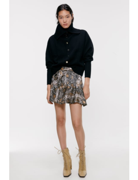 Snakeskin Print Skort Mini Skirts Woman by Zara