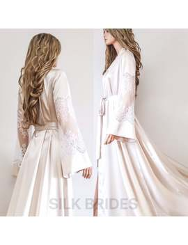 New Maxi Floor Length Bridal Robe, Champagne Bridesmaids Kimono Robe, Bridal Party Dressing Gown by Etsy
