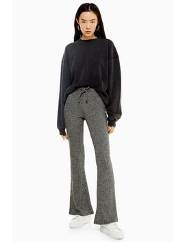 Tie Ribbed Marl Flare Trousers by Topshop
