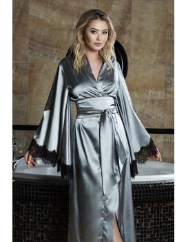 Old Hollywood Robe,Long Silk Satin Robe,Long Grey Robe,Silver Kimono Robe, Long Womens Robe,Grey Silk Long Kimono Robe, Womens Long Kimono by Etsy