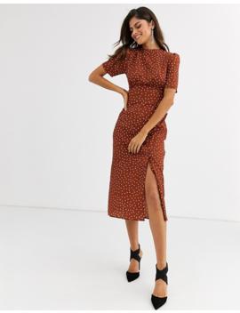 Asos Design Midi Tea Dress With Buttons In Polka Dot by Asos Design