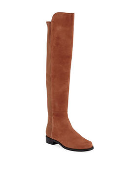5050 Suede & Gabardine Over The Knee Boots by Stuart Weitzman