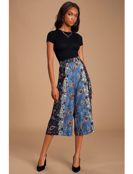 Never Let You Down Blue Multi Scarf Print Culotte Pants by Lulus