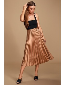 Galena Beige Satin Pleated Midi Skirt by Lulus