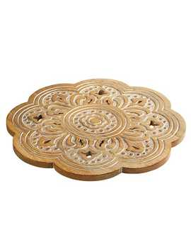 Everett Floral Carved Wooden Lazy Susan by Pier1 Imports