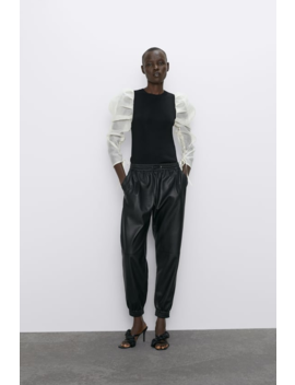 Faux Leather Jogging Pants  New Inwoman by Zara