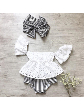 3 Pcs Newborn Toddler Baby Girls Lace Off Shoulder Tops+Striped Shorts Outfits Summer Clothes Set by Xiaxaixu