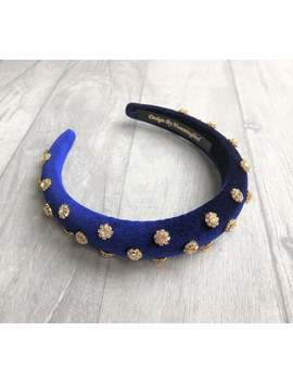 Beautiful Royal Blue Velvet Jewelled Padded Headband With Gold Tone Diamante Crystal Flower Jewels And Domed Plush Padding 2.5 Cms Wide by Etsy