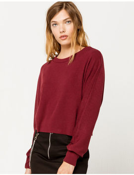 Sky And Sparrow Ribbed Dolman Wine Womens Tee by Sky And Sparrow