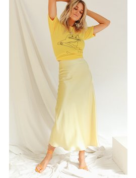 Rooftop Sunsets Bias Cut Midi Skirt // Lemon by Vergegirl