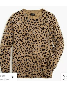 J Crew Long Sleeve Everyday Cashmere Crewneck Sweater In Leopard Size Small by J.Crew
