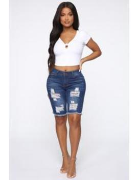 Against All Odds Bermuda Shorts   Medium Blue Wash by Fashion Nova