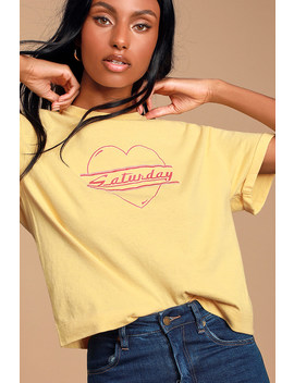 Saturday Yellow Cropped Tee by Neema California