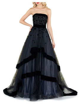Strapless Tiered Gown With Velvet Trim & Floral Appliques by Mac Duggal