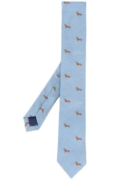 Embroidered Dachshund Silk Tie by Paul Smith