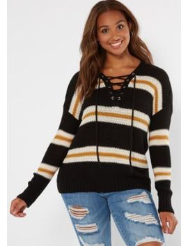 Black Striped Drop Sleeve Lace Up V Neck Sweater by Rue21