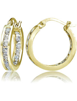 Chanel Set Cz 14kt Yellow Gold Over Sterling Silver Hoop Earrings by Online