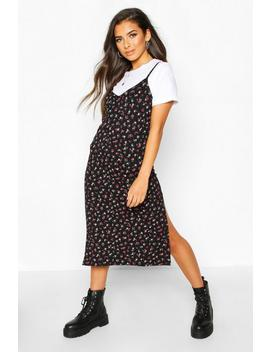 Ditsy Floral Slip Midi Jersey Dress by Boohoo