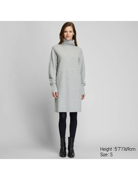 Women 3 D Knit Premium Lambswool Turtleneck Long Sleeved Dress (Short) by Uniqlo