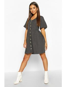 Polka Dot Button Detail Smock Dress by Boohoo