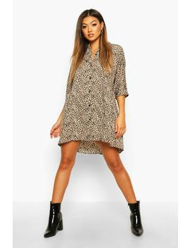 Leopard Button Through 3/4 Sleeve Smock Dress by Boohoo