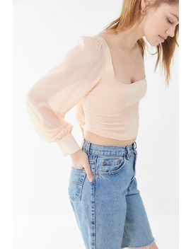 Uo Lena Sheer Sleeve Square Neck Cropped Blouse by Urban Outfitters
