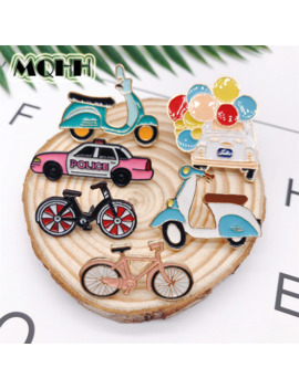 Cartoon Enamel Brooches Fashion Bike Bicycle Car Alloy Button Badges Pins Shirt Bag Hat Jewelry Trinket For Friends Kids by Ali Express.Com