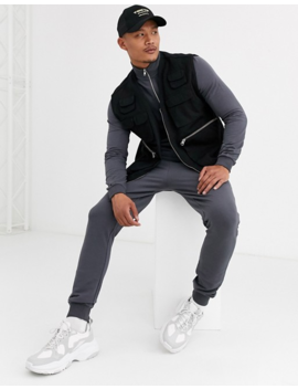 Asos Design Muscle Tracksuit With Zip Neck Sweatshirt & Super Skinny Joggers by Asos Design