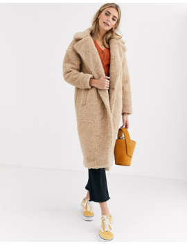 New Look Maxi Borg Teddy Coat In Oatmeal by New Look