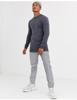 Asos Design Longline Muscle Sweatshirt In Washed Black by Asos Design