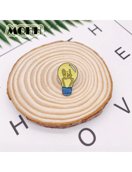 Personality Cartoon Creative Brooch Electric Light Bulb Round Badge Enamel Alloy Brooch Denim Collar Needle Jewelry Gifts by Ali Express.Com