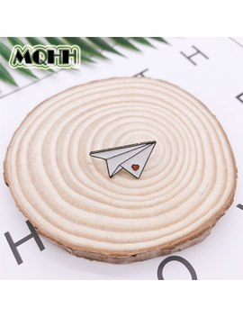 Cartoon Creative Paper Airplane Heart Shape Enamel Brooch Childhood Alloy Badge Denim Clothes Bag Pin Cute Jewelry Gift For Kid by Ali Express.Com