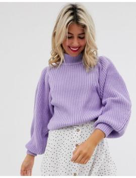 Asos Design – Grob Gerippter Pullover Mit Voluminösen Ärmeln by Asos