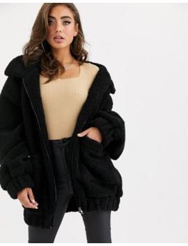 Pretty Little Thing – Schwarze Oversized Jacke Mit Teddyfell by Asos