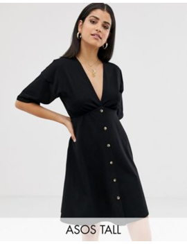 Asos Design Tall Mini Cotton Tea Dress With Buttons by Asos Design
