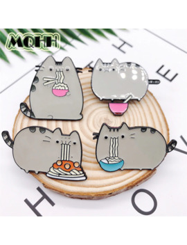 Creative Cartoon Animal Cat Eating Noodle Enamel Brooch Alloy Badge Shirt Bag Pins Accessories Women Jewelry Gifts For Friends by Ali Express.Com