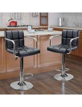 Set Of 2 Adjustable Faux Leather Height Adjustable Swivel Barstool by Generic