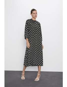 Sukienka W Geometryczny DeseŃ Midi Sukienki Kobieta by Zara