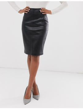 Mango Faux Leather Pencil Skirt In Black by Mango