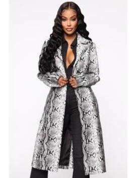 Snake 'em Down Faux Leather Coat   Grey by Fashion Nova