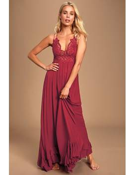 Adella Maxi Slip Berry Red Lace Dress by Free People