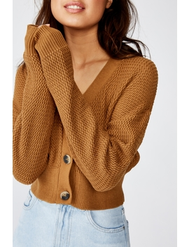 Morgan Waffle Button Cardi by Cotton On